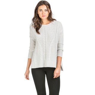 Ply Cashmere Women's Cable Detail Cashmere Sweater
