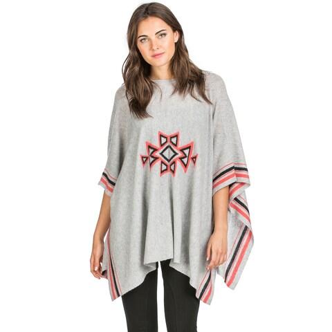 Ply Cashmere Women's Southwestern Pattern Cashmere Poncho