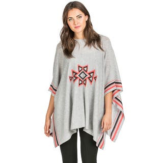 Ply Cashmere Women's Southwestern Pattern Cashmere Poncho|https://ak1.ostkcdn.com/images/products/11211021/P18198965.jpg?impolicy=medium