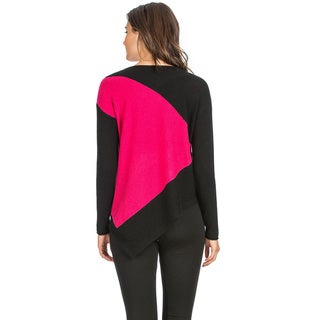 Ply Cashmere Women's Two-tone Asymmetrical Hem Cashmere Sweater
