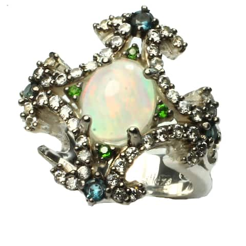 One-of-a-kind Michael Valitutti Ethiopian Opal and Tsavorite and Zirco Ring