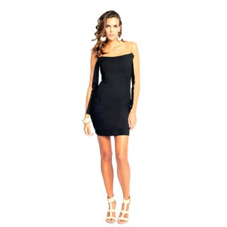 Sara Boo Women's Black Sheer Sleeve Dress