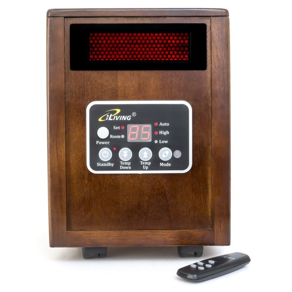 ILiving ILG 918 1500W Dark Walnut Wooden Infrared Cabinet Portable Space  Heater With Dual Heating