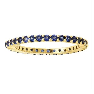 Beverly Hills Charm 14k Yellow Gold 1ct Natural Blue Sapphires Stackable Eternity Band Ring