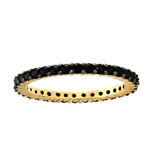 Beverly Hills Charm 14k Yellow Gold 1ct Natural Black Sapphires Stackable Eternity Band Ring