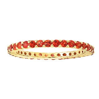 Beverly Hills Charm 14k Yellow Gold 1ct Natural Orange Sapphires Stackable Eternity Band Ring