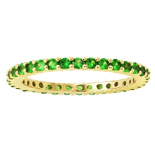 Beverly Hills Charm 14k Yellow Gold 1ct Natural Tsavorite Stackable Eternity Band Ring