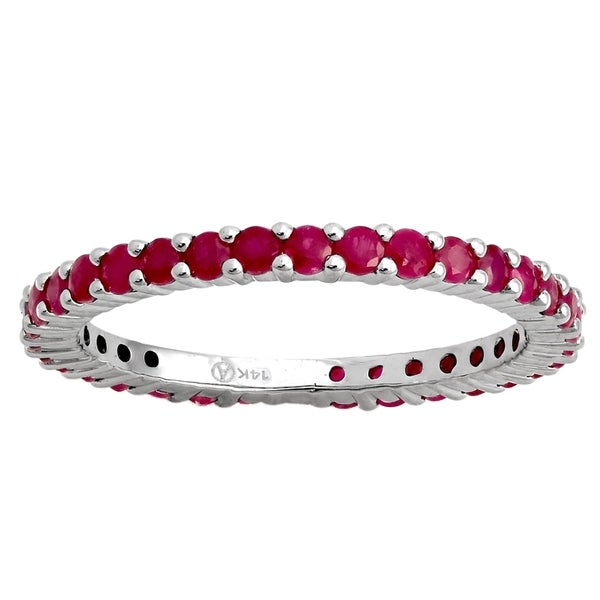 14k White Gold 1 1/5ct Natural Ruby Stackable Eternity Band Ring - Red