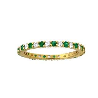 10k Yellow Gold 7/8ct Alternating Natural Emerald and White Sapphire Stackable Eternity Band Ring - Green