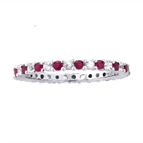 ce00f793e 10k White Gold 7/8ct Ruby and White Sapphire Stackable Eternity Band Ring