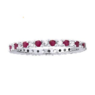 10k White Gold 7/8ct Alternating Natural Ruby and White Sapphire Stackable Eternity Band Ring|https://ak1.ostkcdn.com/images/products/11211131/P18199053.jpg?impolicy=medium