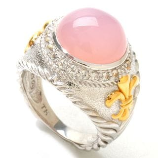 14k Vermail over Sterling Silver 12mm Pink Chalcedony and White Topaz Ring