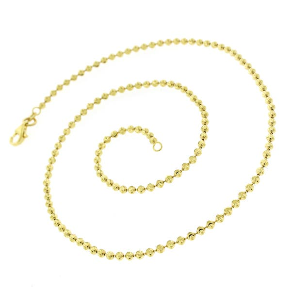 14k Yellow Gold Over 925 Sterling Silver Moon Cut Beaded Necklace 2mm 26 inches