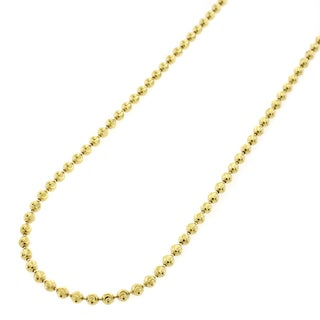 """Sterling Silver Italian 2mm Ball Bead Moon Cut Solid 925 Yellow Gold Plated Necklace Chain 16"""" - 30"""""""