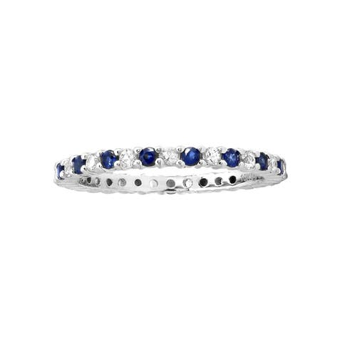 10k White Gold 7/8ct Blue and White Sapphire Stackable Eternity Band Ring