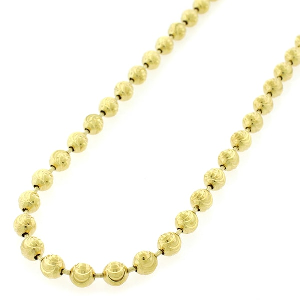 Authentic Solid Sterling Silver 5mm Moon-Cut Ball Bead  925 Yellow Gold  Beaded Necklace Chain 24