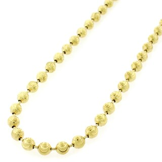 "Sterling Silver Italian 5mm Ball Bead Moon Cut Solid 925 Yellow Gold Plated Necklace Chain 24"" - 40"" (More options available)"