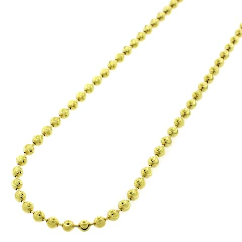 "Authentic Solid Sterling Silver 3mm Moon-Cut Ball Bead .925 Yellow Gold Beaded Necklace Chain 16"" - 32"", Made In Italy"