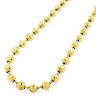 "Sterling Silver Italian 6mm Ball Bead Moon Cut Solid 925 Yellow Gold Plated Necklace Chain 24"" - 40"""