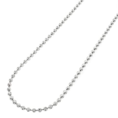 ".925 Solid Sterling Silver 2MM Moon-Cut Ball Bead Rhodium Necklace Chain 16"" - 30"", Silver Chain for Men & Women, Made in Italy"