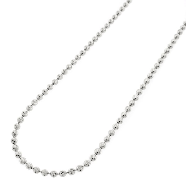 """.925 Solid Sterling Silver 2MM Moon-Cut Ball Bead Rhodium Necklace Chain 16"""" - 30"""", Silver Chain for Men & Women, Made in Italy"""