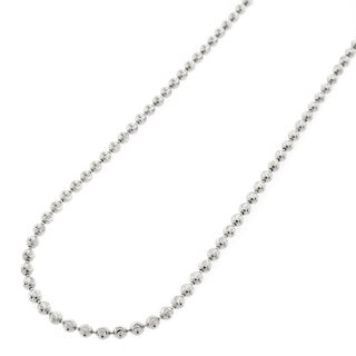 Authentic Solid Sterling Silver 2mm Moon Cut Ball Bead 925 Rhodium Beaded Necklace Chain 16 30 Made In Italy