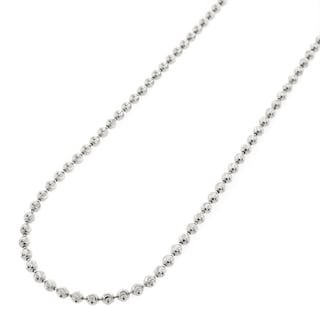 .925 Sterling Silver 2mm Moon-cut Bead Pendant Chain Necklace