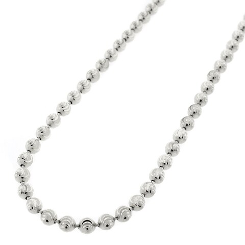 """Sterling Silver Italian 4mm Ball Bead Moon Cut Solid 925 Rhodium Necklace Chain 16"""" - 38"""""""