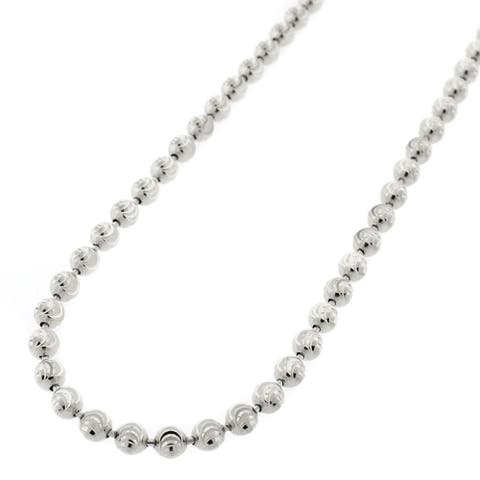 """Authentic Solid Sterling Silver 4mm Moon-Cut Ball Bead .925 Rhodium Beaded Necklace Chain 16"""" - 30"""", Made In Italy"""