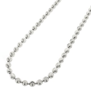 "Sterling Silver Italian 4mm Ball Bead Moon Cut Solid 925 Rhodium Necklace Chain 16"" - 38"""