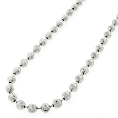 ".925 Solid Sterling Silver 6MM Moon-Cut Ball Bead Rhodium Necklace Chain 24"" - 30"", Silver Chain for Men & Women, Made in Italy"