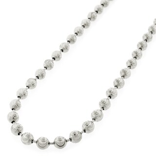 "Sterling Silver Italian 5mm Ball Bead Moon Cut Solid 925 Rhodium Necklace Chain 24"" - 40"""