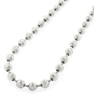 .925 Sterling Silver 6mm Moon-cut Bead Chain Necklace