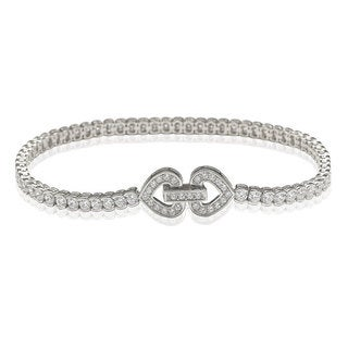 Suzy Levian Pave Cubic Zirconia Sterling Silver 7.5-inch Heart-Locked Tennis Bracelet