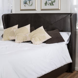 Christopher Knight Home Waterville Fully Upholstered Queen Bonded Leather Wingback Headboard