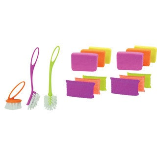 Casabella Loop Brush Set with Scrub Sponges and Microfiber Sponges