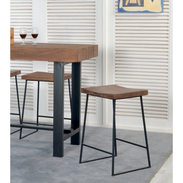 Shop Somette Acacia Wood And Iron Counter Height Stool
