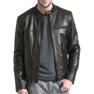 Men's Brown Lambskin Moto Leather Jacket (Option: 38r)