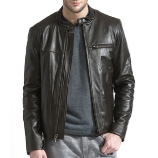 Tanners Avenue Men's Brown Lambskin Moto Leather Jacket