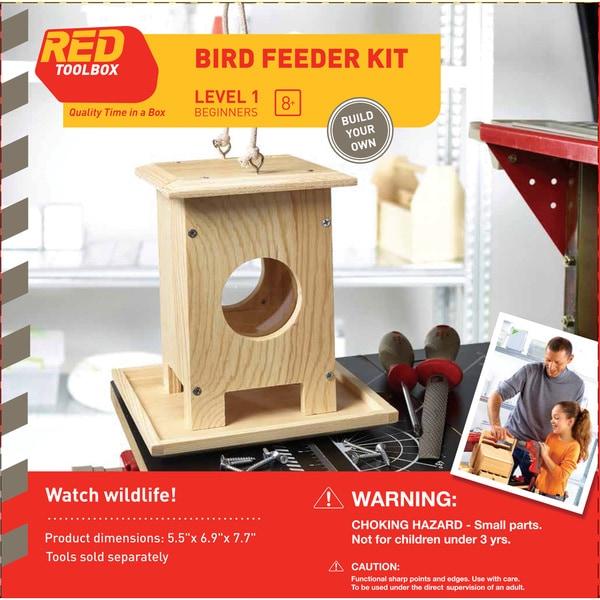 Red Tool Box DIY Wood Bird Feeder Building Kit