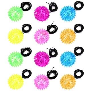 Velocity Toys Flashing LED Light-up Multicolor Squishy Yo-Yo Balls (Set of 12) - Blue