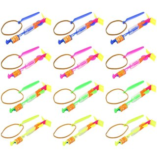 Velocity Toys LED Light-up Sling Shot Flare Arrow Party Favor Toy Flyers (Set of 12) - Blue