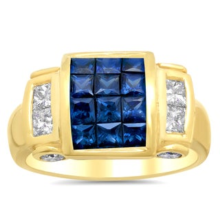 18k Yellow Gold 3/4ct TDW Diamond and 1 1/2ct TGW Sapphire Invisible-set Ring (F-G, VS1-VS2)