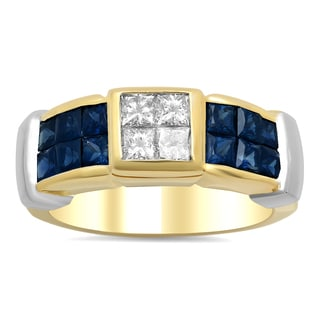 18k Two-tone Gold 1/2ct TDW Diamond and 1 1/2ct TGW Sapphire Invisible-set Ring (F-G, VS1-VS2)