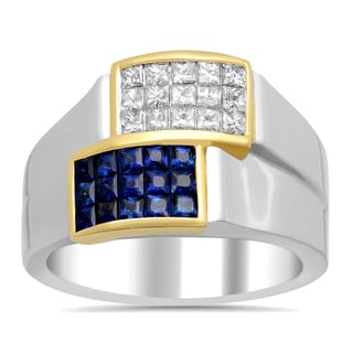 18k Two-tone Gold 2/5ct TDW Diamond and 1/2ct TGW Sapphire Invisible-set Ring (F-G, VS1-VS2)