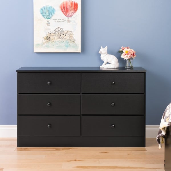 Black or White 6 Drawer Condo sized Dresser Dressers Bedroom Wood Furniture Kids