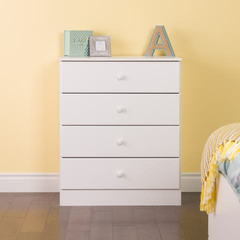 Bella 4-Drawer Dresser, White