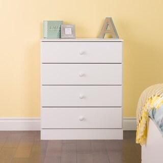 Bella White Wood 4 Drawer Dresser