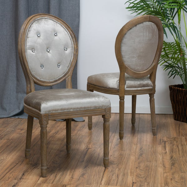 Shop Queen Anne Studded Tufted Fabric Dining Chair Set Of