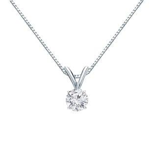 Auriya 14k Gold 1/4ct TDW Round Cut Diamond Solitaire Pendant (H-I, VS1-VS2)